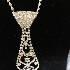 Faux Diamond Necktie Necklace